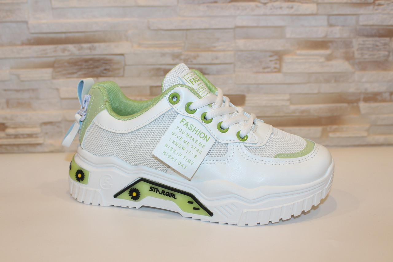 Кроссовки женские белые с зелеными вставками Т1291