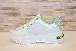 Кроссовки женские белые с зелеными вставками Т1291, фото 2