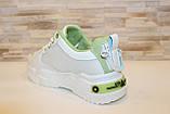 Кроссовки женские белые с зелеными вставками Т1291, фото 3