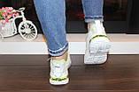 Кроссовки женские белые с зелеными вставками Т1291, фото 5