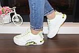 Кроссовки женские белые с зелеными вставками Т1291, фото 6