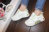 Кроссовки женские белые с зелеными вставками Т1291, фото 7