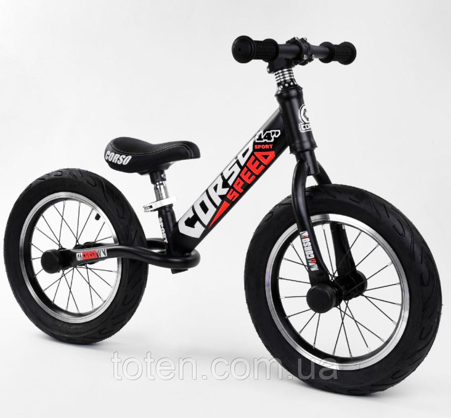 """Велобіг від 14"""" CORSO 79077 сталева рама, колеса надувні, алюмінієві диски. Сидіння регулюється Т"""