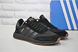 Кросівки чоловічі чорні в стилі Adidas iniki runner Black, фото 2