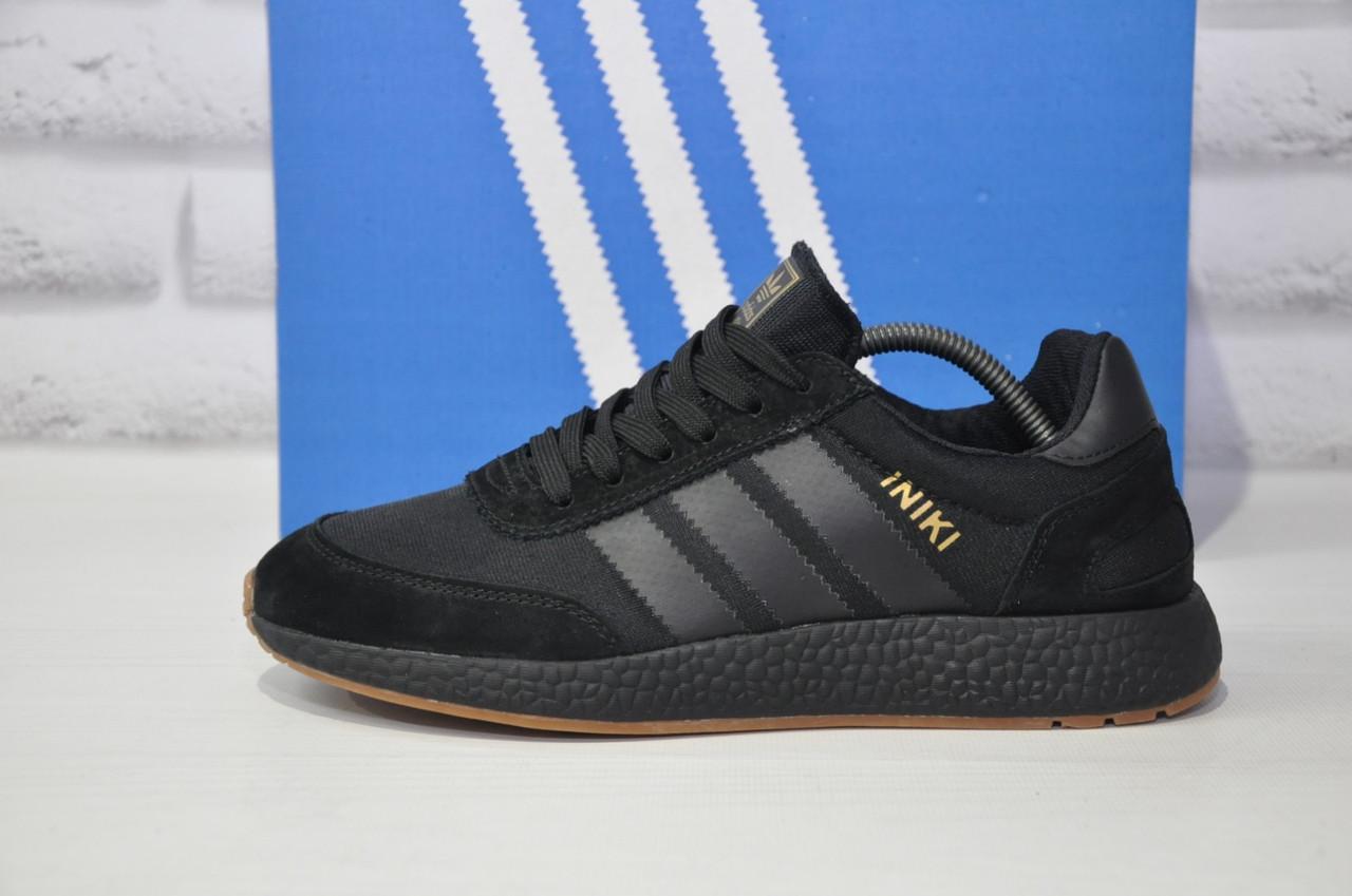 Кросівки чоловічі чорні в стилі Adidas iniki runner Black