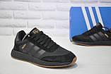 Кросівки чоловічі чорні в стилі Adidas iniki runner Black, фото 3