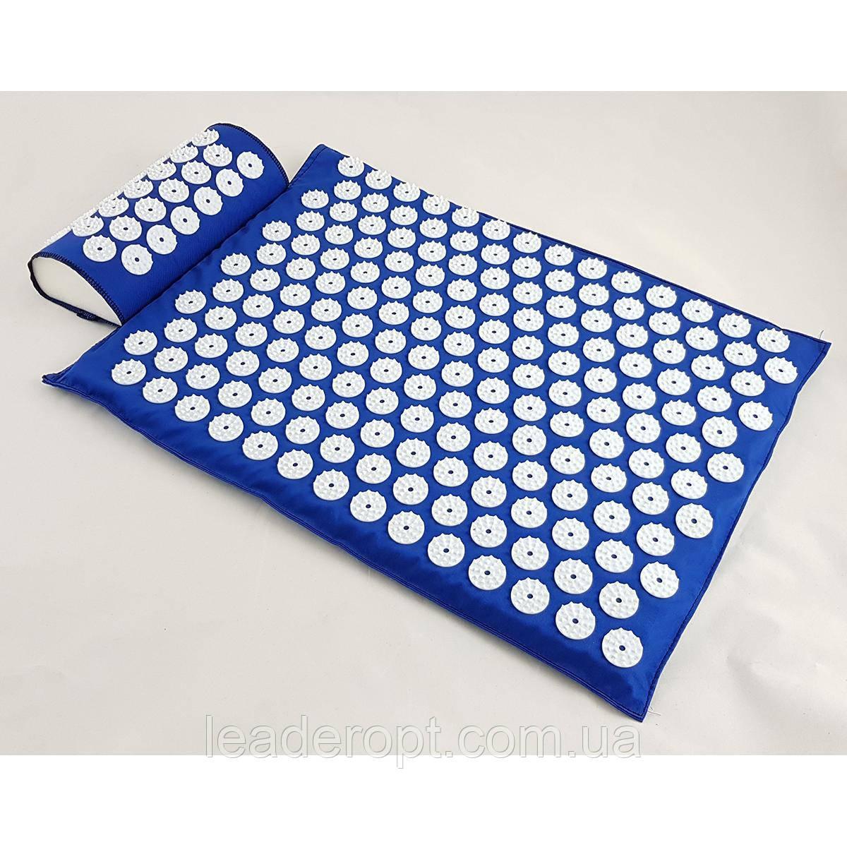 ОПТ Акупунктурний килимок для масажу спини і ніг з подушкою-валиком для голови масажер osport синій колір