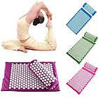 ОПТ Акупунктурний масажний килимок з валиком - подушкою для масажу спини і ніг osport з бавовни зелений, фото 2