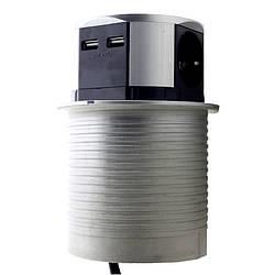 "ElectroHouse {""ru"":""Мебельная розетка  3 x 16A, 2 x USB 2.4A, металл + провод 3 x 1.5 mm²"",""ua"":""Меблева"