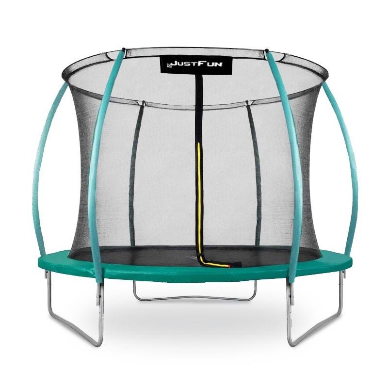 Батут с защитной сеткой и лестницей Just Fun 305 см Premium Fiberglass Green уличный домашний для детей