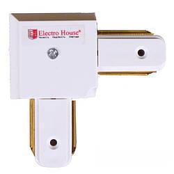 """ElectroHouse {""""ru"""":""""Коннектор для трекового светильника угловой белый"""",""""en"""":""""Angle connector for track light"""