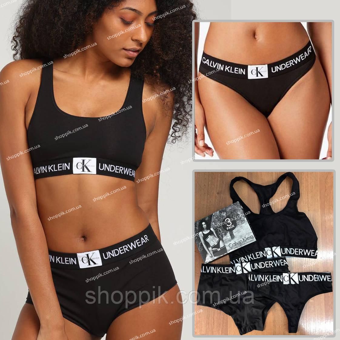 Набор женского белья Calvin Klein Monogram Black Реплика
