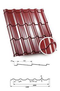 Металочерепиця глянцева для даху Япіс Метал 0,45 коричнева, зелена, червона, графіт
