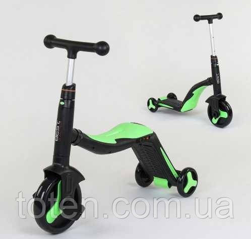 Самокат беговел велобіг від велосипед дитячий best scooter 3 В 1 JT 40405 мелодії світло зелений Т