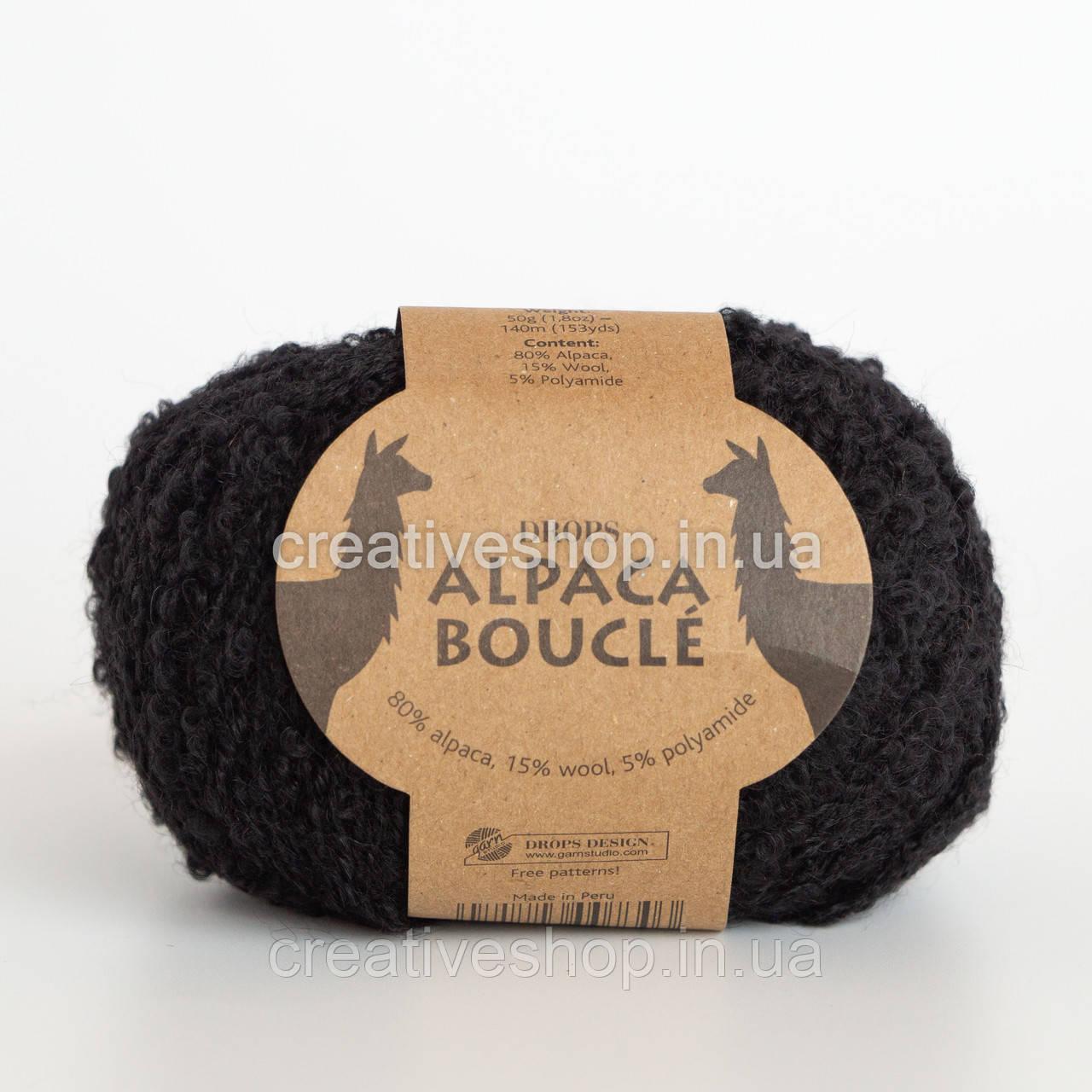 Пряжа DROPS Alpaca Bouclé (цвет 8903 black)