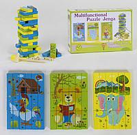 Деревянная игрушка 2в1 (WD2202)  Дженга-пазл, 3 вида картинок, в коробке