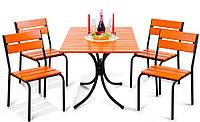 "Комплект мебели для дачи ""Рио Плюс"" стол (120*80) + 4 стула Тик, фото 1"