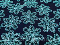 Ткань креп-костюмка темно-синего цвета принт нежно-бирюзовые цветы