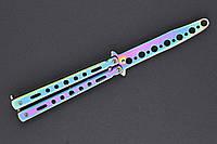 Нож бабочка тренировочный 555Градиент, безопасный учебный детский нож балисонг для ребенка, не острый,радужный