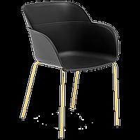 Крісло Tilia Shell-MG ніжки металеві золото, чорне сидіння