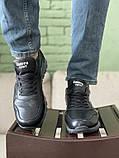 Мужские кроссовки кожаные весна/осень черные, фото 2