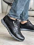 Мужские кроссовки кожаные весна/осень черные, фото 3