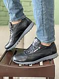 Мужские кроссовки кожаные весна/осень черные, фото 4