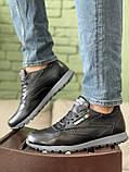 Мужские кроссовки кожаные весна/осень черные, фото 5