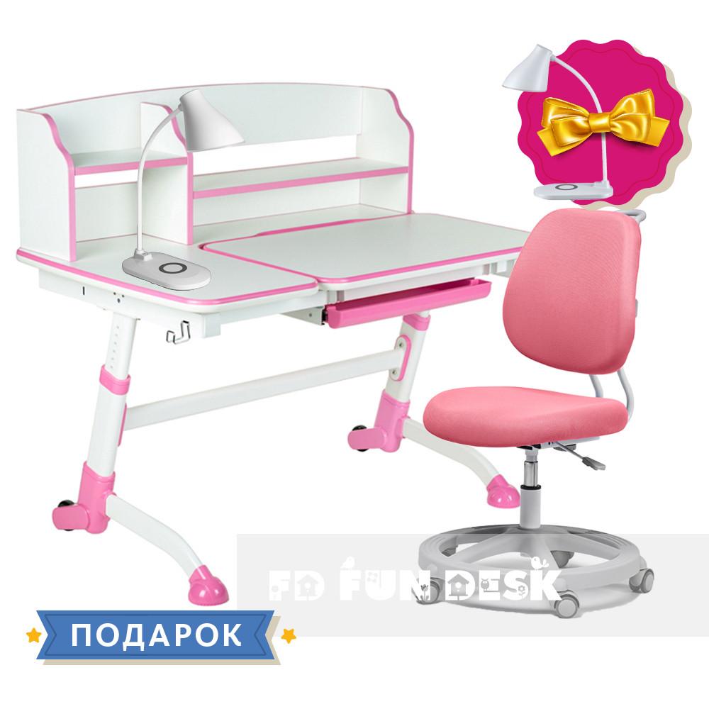 Универсальный комплект для девочки👸  парта FunDesk Amare II Pink + эргономичное кресло FunDesk Pratico Pink