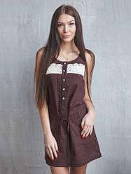 Короткое летнее льняное платье