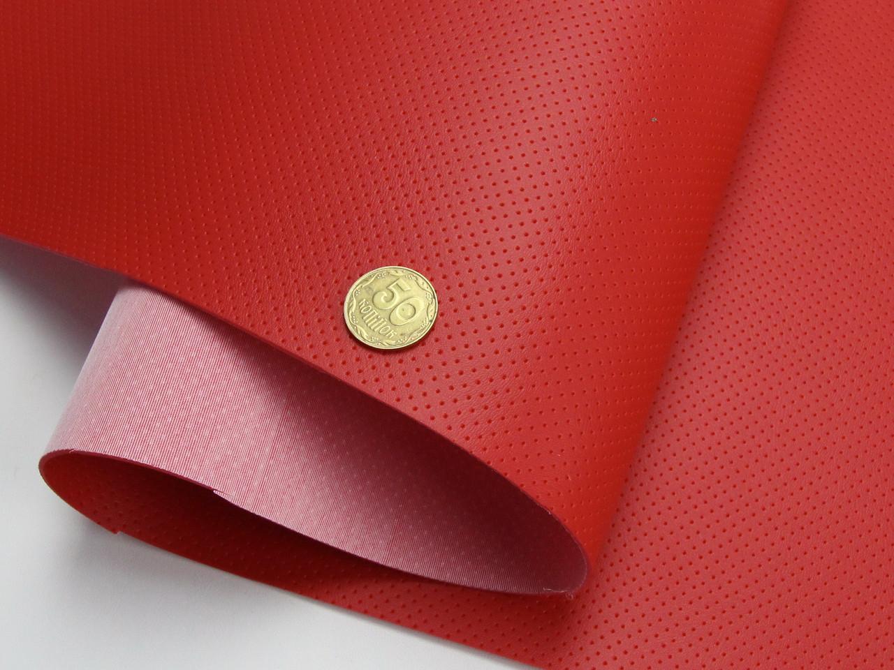 Термовинил псевдо-перфорированный красный (tk-18) на каучуковой основе, для перетяжки руля, дверных карт