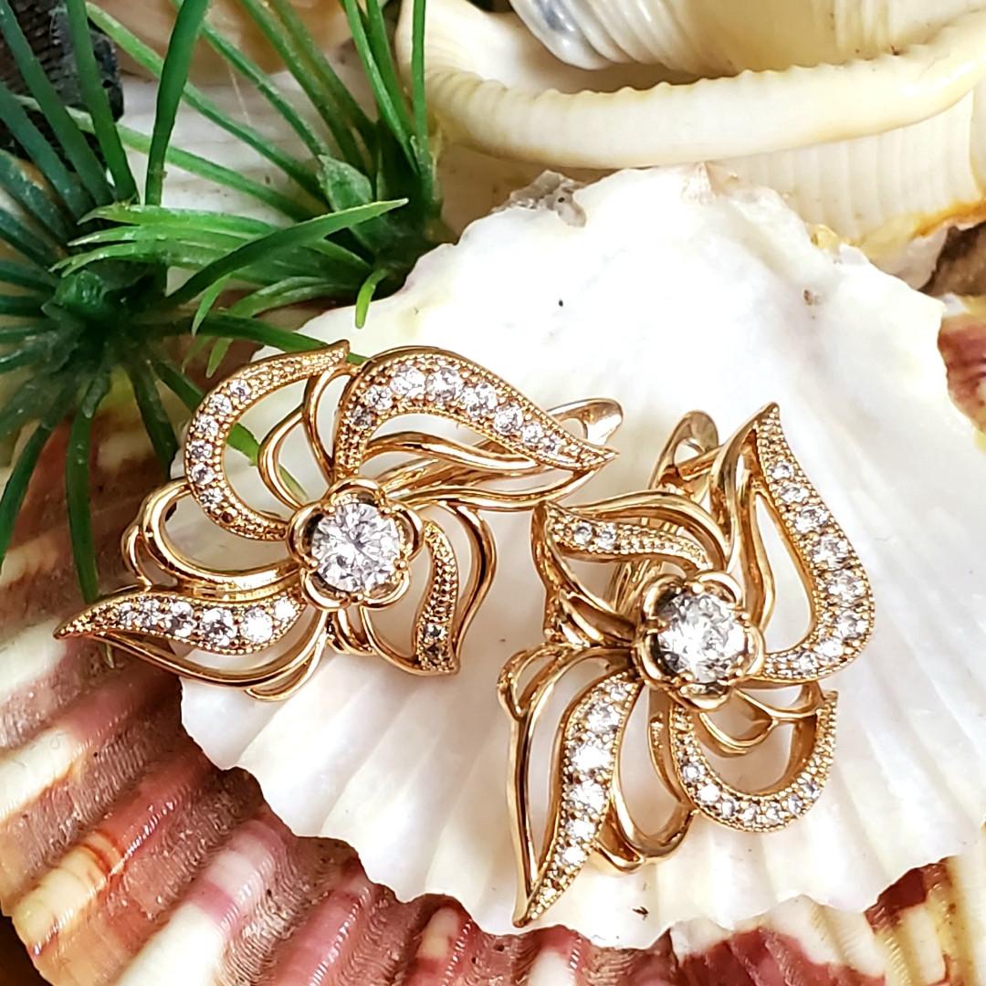 Сережки Xuping довжина 2.8см медичне золото позолота 18К с1219