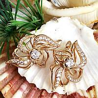Сережки Xuping довжина 2.8см медичне золото позолота 18К с1219, фото 1