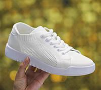 Кеды кроссовки женские летние сетка супер легкие мягкие качественные дышащие белые 38 размер Restime 21835