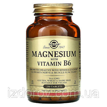 Solgar, Mагний с витамином B6, Magnesium with Vitamin B6, 250 таблеток