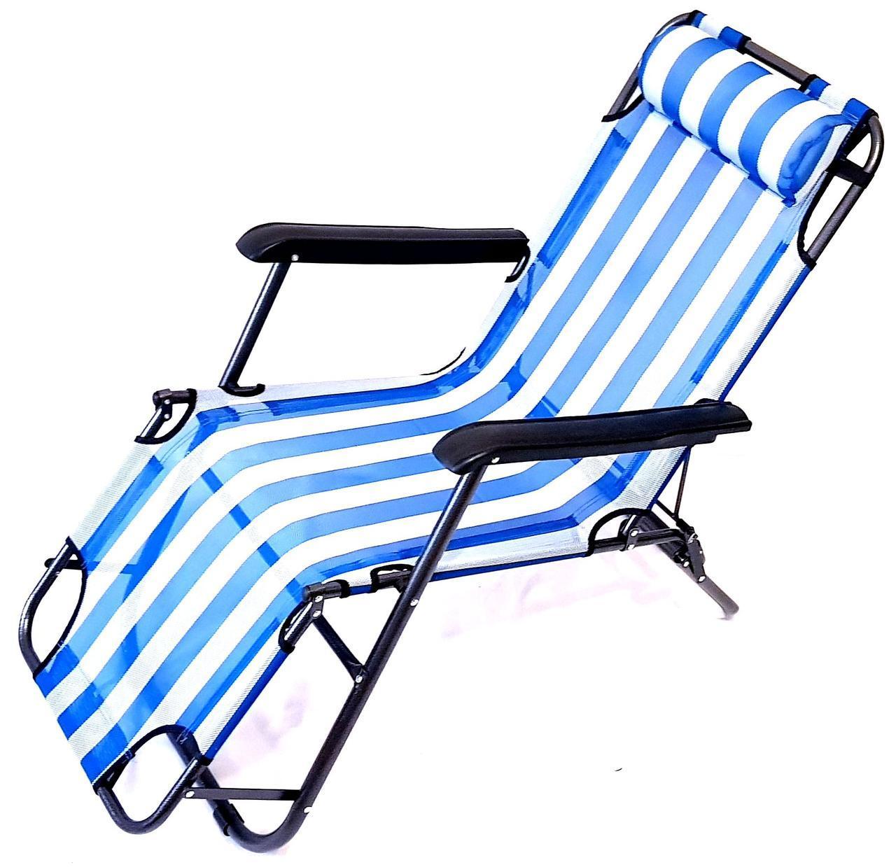 Крісло-шезлонг Stenson MH-3913, 153 * 60 * 80 см біло-блакитний