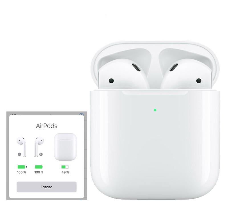 Бездротові Навушники Apple AirPods 2 bluetooth навушники Аирподсы для Iphone Люкс копія 1в1 з кейсом