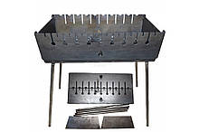 Мангал-чемодан на 12 шампуров 3 мм Огонёк MAX