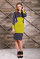 """Платье """"Фьюри"""" (т.серый+оливковый), фото 1"""