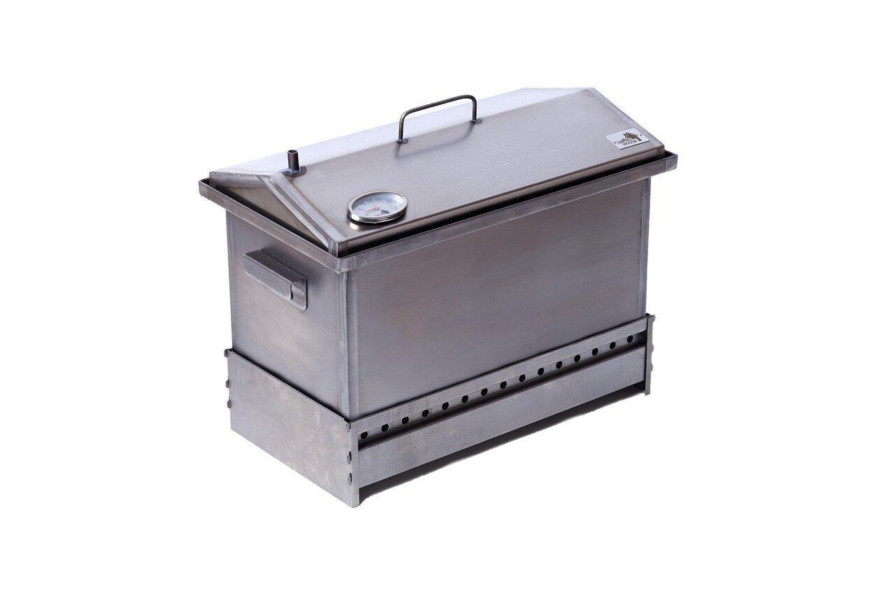 Коптильня для гарячого копчення з гідрозатворів і термометром 6 кг завантаження 520х300х310