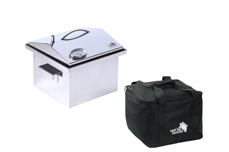 Коптильня нержавейка до 2,5 кг с термометром и сумкой Smoke House S DeLuxe