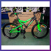 """Велосипед горный скоростной Azimut Scorpion 24 дюйма 17"""" рама на рост 160-175 см черно-зеленый"""