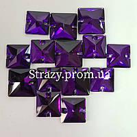 Стразы пришивные Lux Квадрат 14мм. Purple Velvet