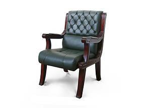 Кресло для конференций Сорренто комбинированная кожа люкс Темно-Зеленая (Диал ТМ)