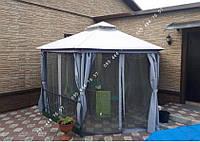 Павильон садовый с плотной ткани, стальной каркас + шторки и сетка, беседка альтанка