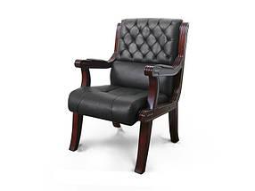 Кресло для конференций Сорренто Палисандр, комбинированная кожа люкс Черная (Диал ТМ)