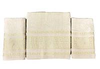 Набір махрових рушників gold soft life версаче 50*90(2) і 70*140 бежевий #S/H