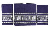 Набір махрових рушників gold soft life версаче 50*90(2) і 70*140 фіолетовий #S/H