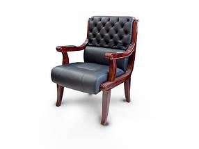 Кресло для конференций Сорренто Орех, комбинированная кожа люкс Черная (Диал ТМ)