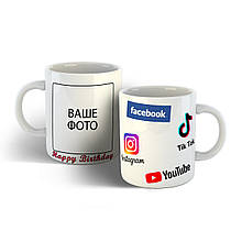 Чашка на день рождения с логотипами соцсетей.